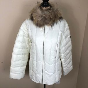 1 Madison Ivory Down Fill Fur Collar Coat Jacket L